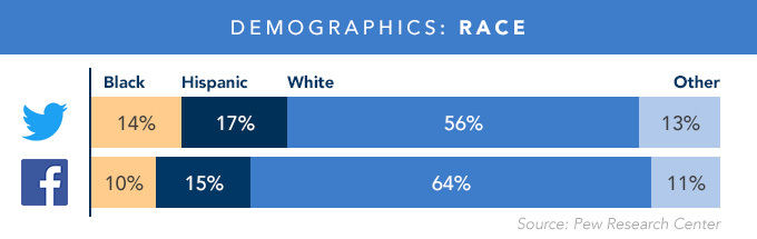 Bar graph depicting Twitter and Facebook racial demographics